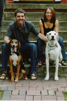 Jenny and Jon Murray with their dogs. JFS Jewish Family Services Richmond Virginia
